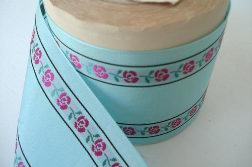 Aqua floral ribbon-large