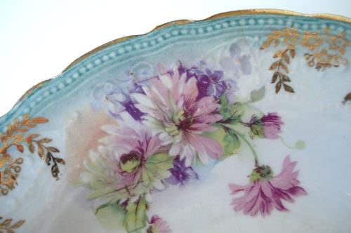 Aqua floral bowl-large