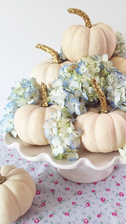 Pumpkins And Flowers Centerpiece For